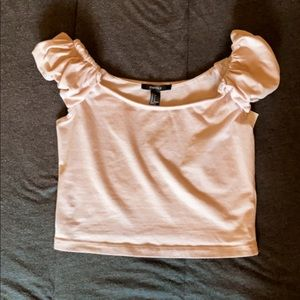 Forever 21 Blush Pink Ruffle Shoulder Crop Top EUC